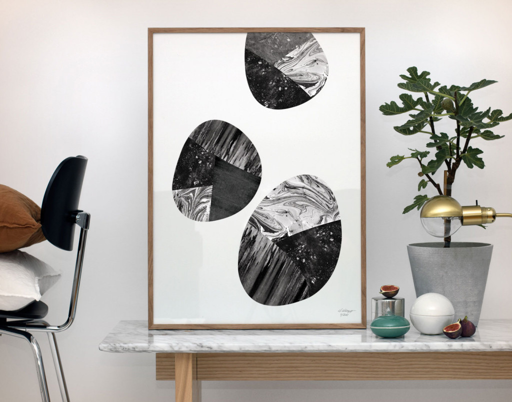 Kristina Krogh Artwork Prints | Black Stones Collage