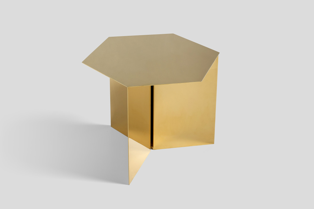 Hay Slit Table brass hexagon