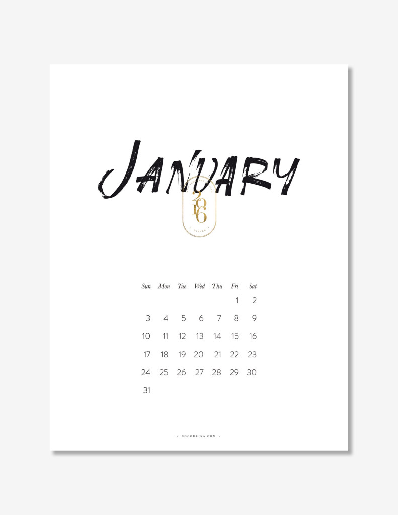 2016 Lettering Calendar by Cocorrina | FREE Printable