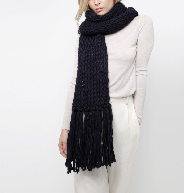 Knit Kit by Wool and the Gang | Oversized shaggy scarf in midnightblue #diy