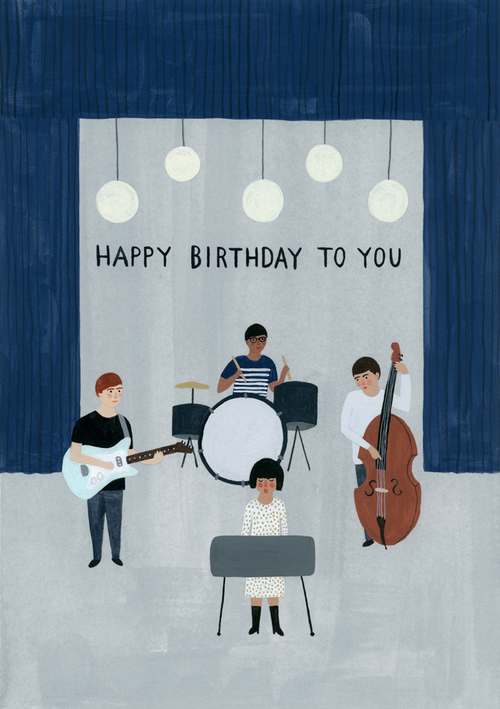 Kate Pugsley Illustrations | Happy BIrthday card with band