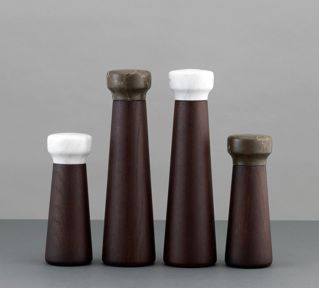 Craft salt & pepper mills by Normann Copenhagen | Marble and stained oak