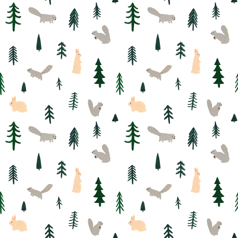 Kate Pugsley Illustrations | woodland pattern with trees, bunnies & squirrels