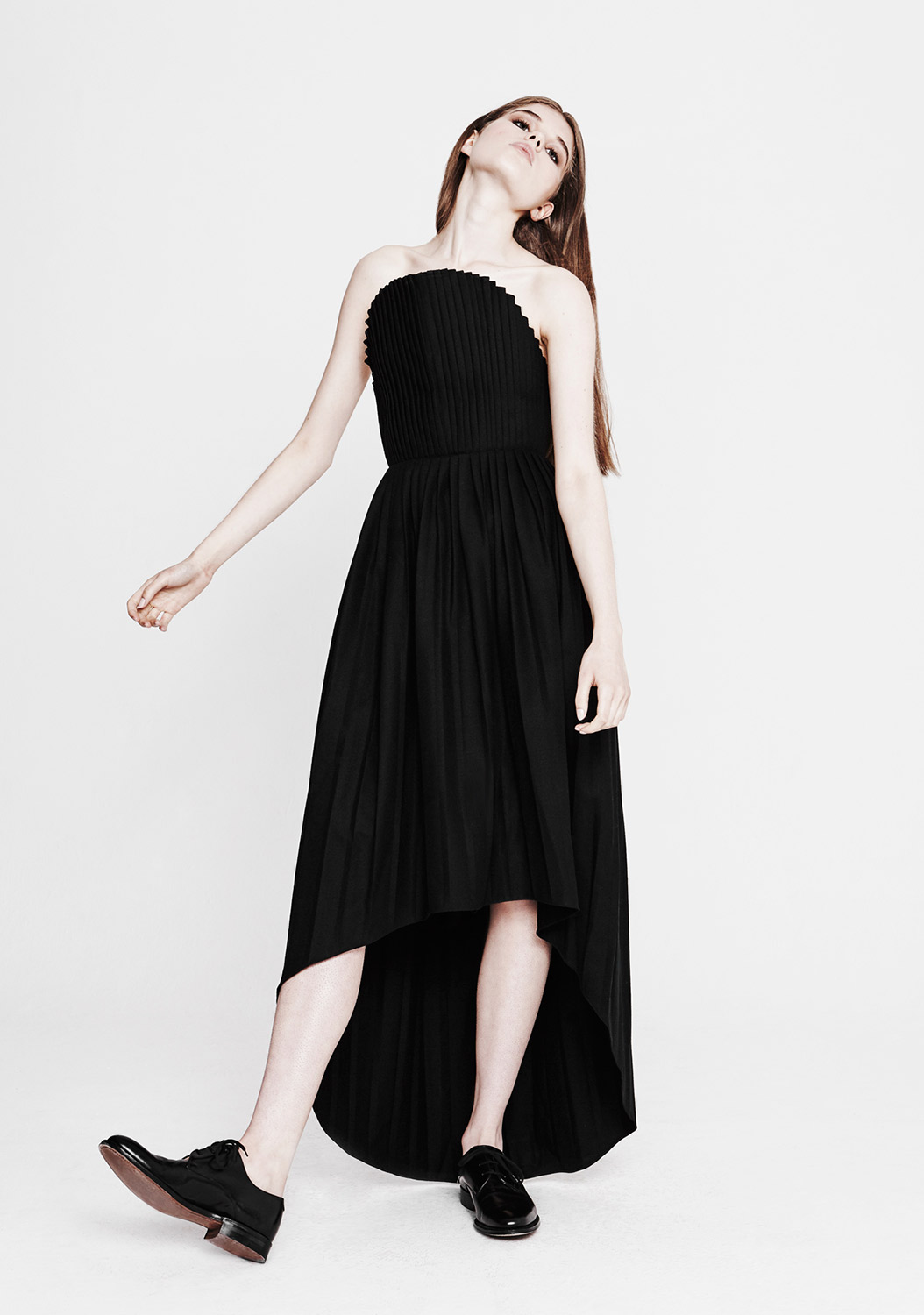 Youjia Jin | Black pleated dress