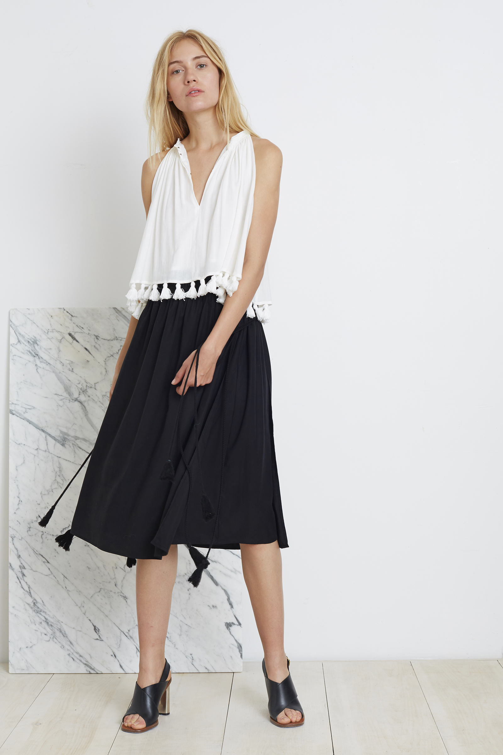 Apiece Apart | top and skirt with tassels