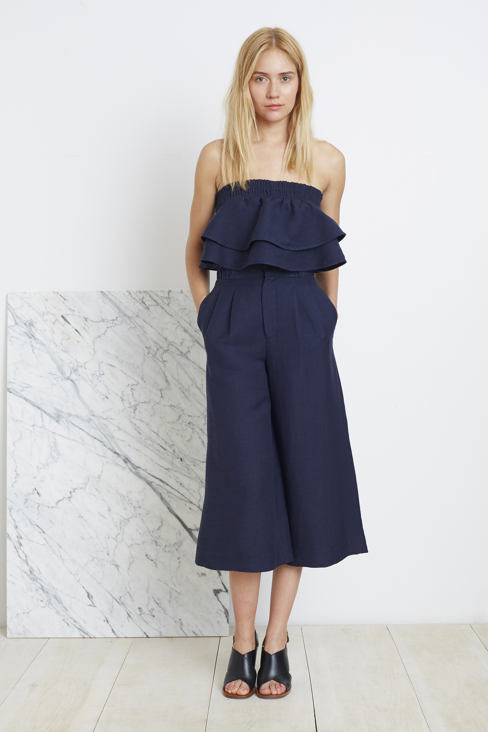 Apiece Apart | blue ruffled crop top & high waisted culottes