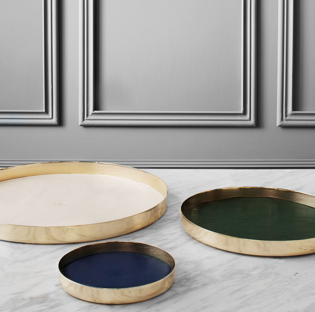Skultuna Karui Trays designed by GamFratesi | leather & brass