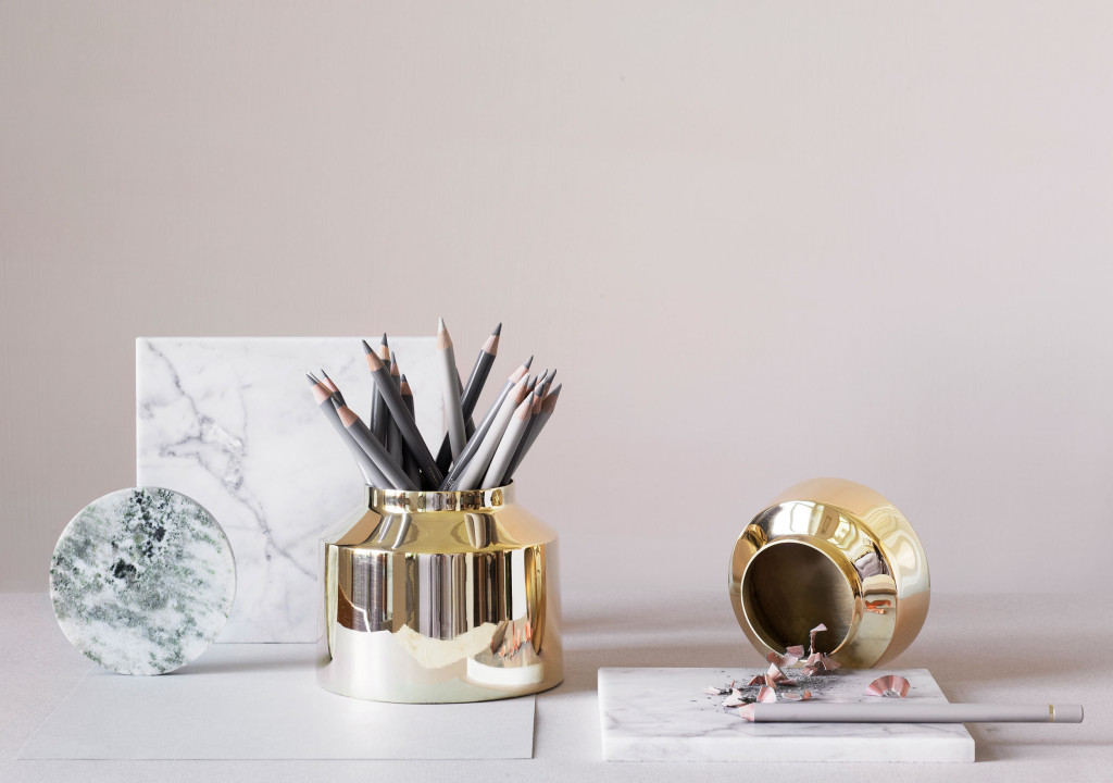 Golden ink pots made of polished brass by Skultuna | Stationery