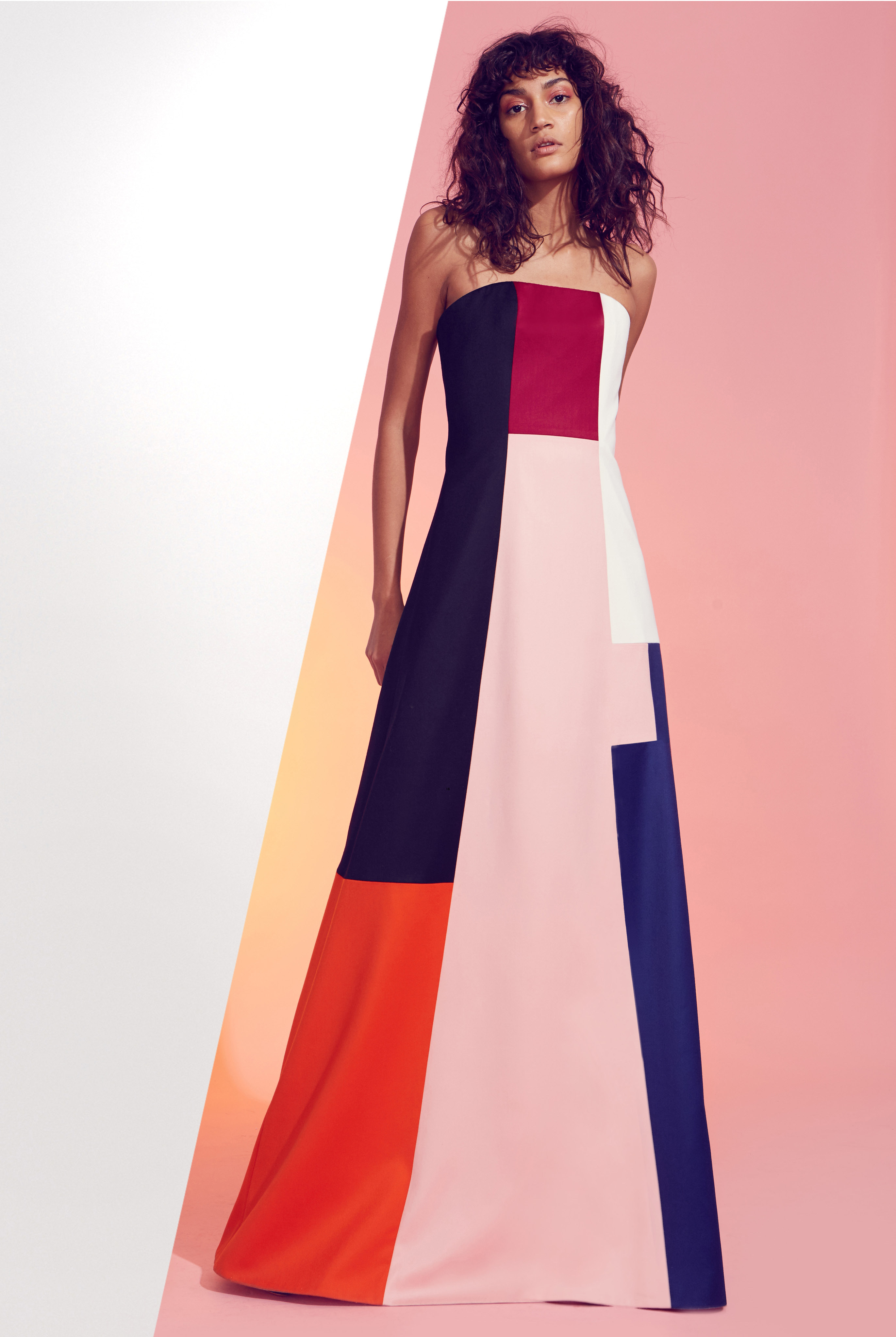 Clothing with vibrant colors and bold shapes, cuts and graphical elements.