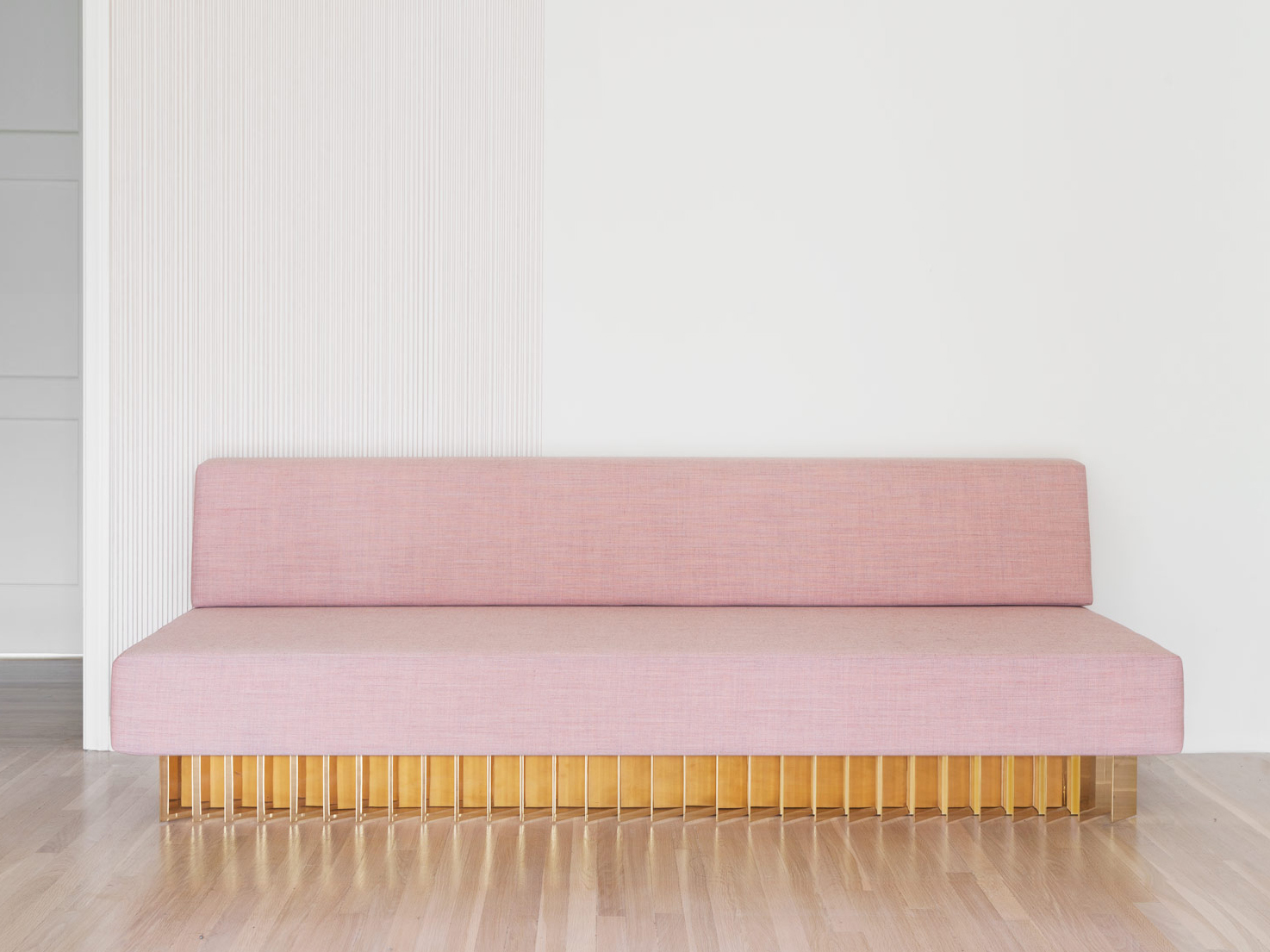 Angled Bar Daybed | pink canvas and solid brass