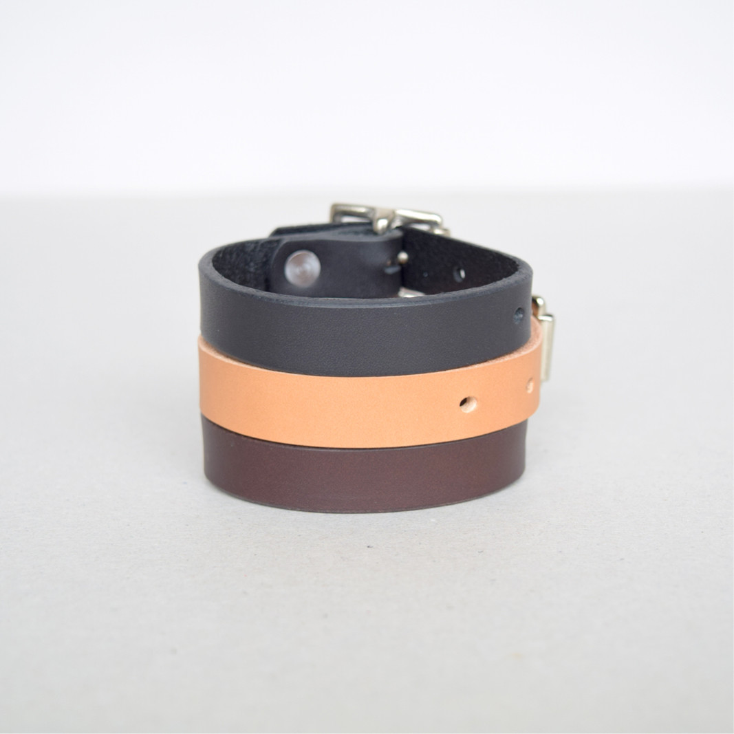 Minimalistic British leather bracelets by Alfie Douglas