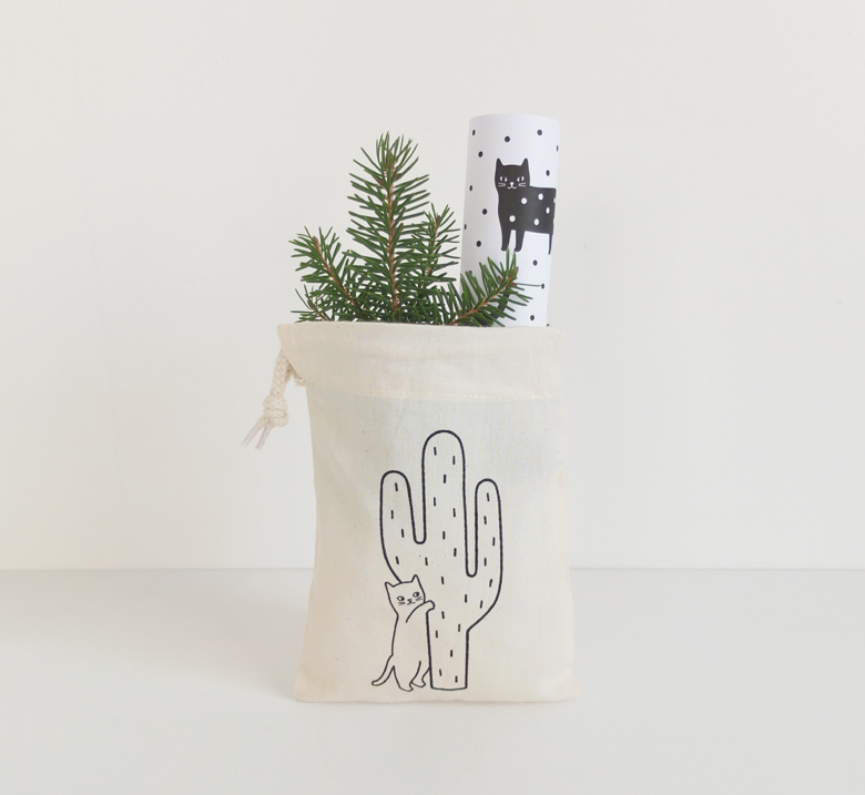 Audrey Jeanne | Cat tote bag and wrapping paper