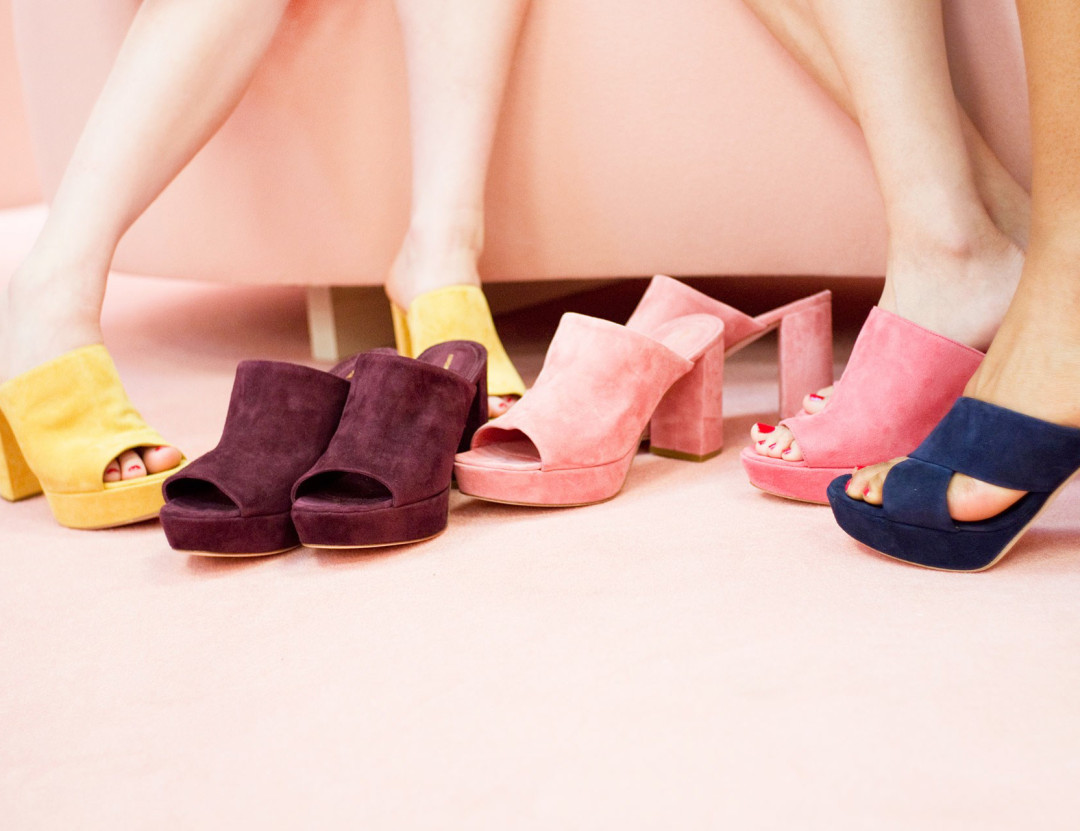 Suede mules in pop colors by Mansur Gavriel