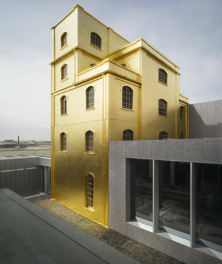 Fondazione Prada by Rem Koolhaas | gold and concrete in architecture
