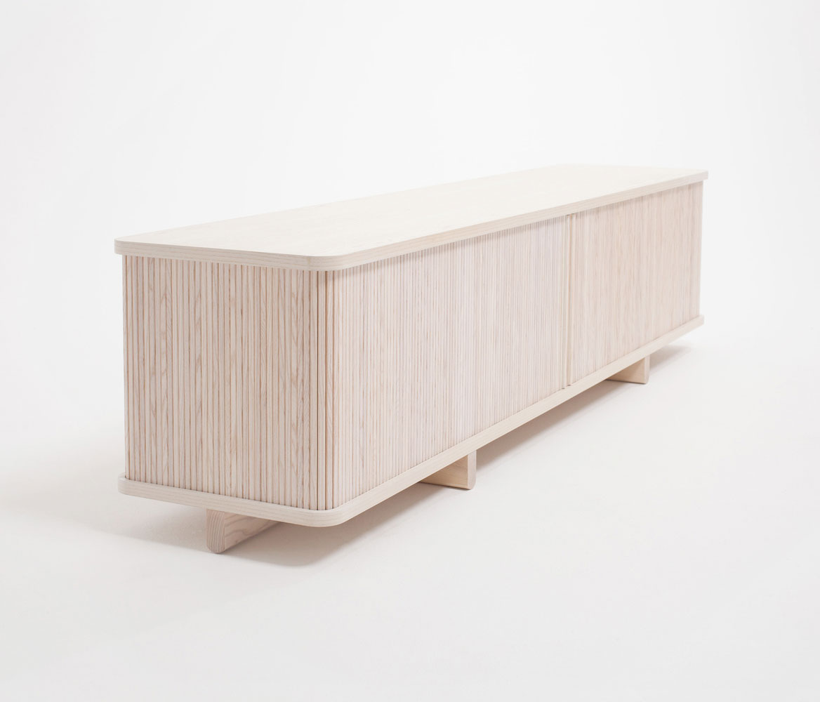 Thom Fougere | Wooden Sideboard of Tambour Collection, inspired by traditional roll-top desks