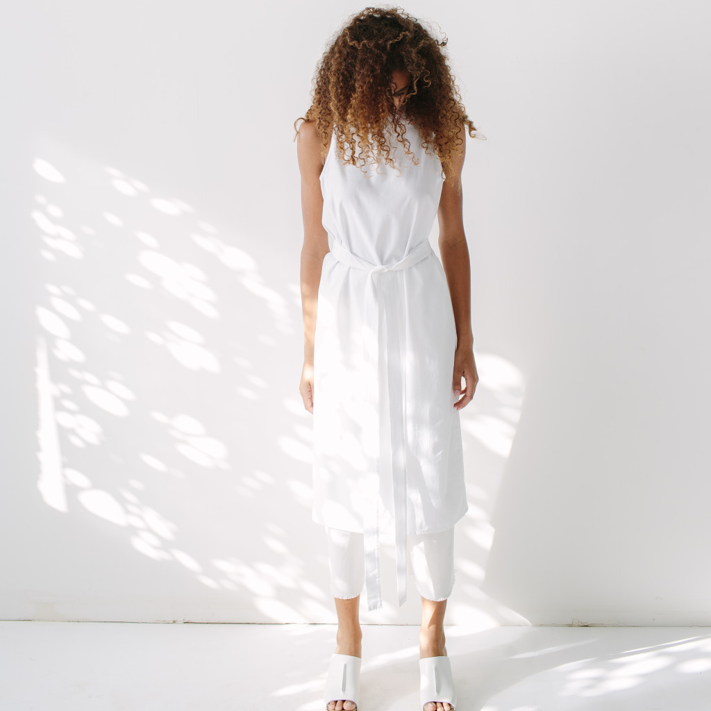 White dress over pants by HDH