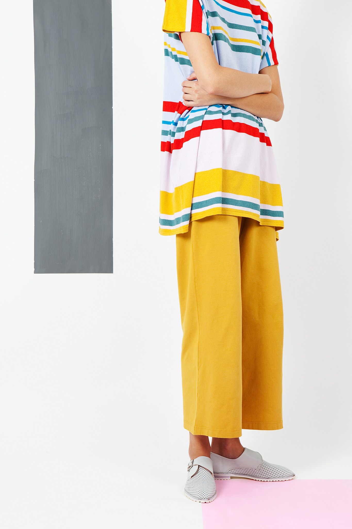 Arela | Striped boxy tunic in cotton cashmere knit