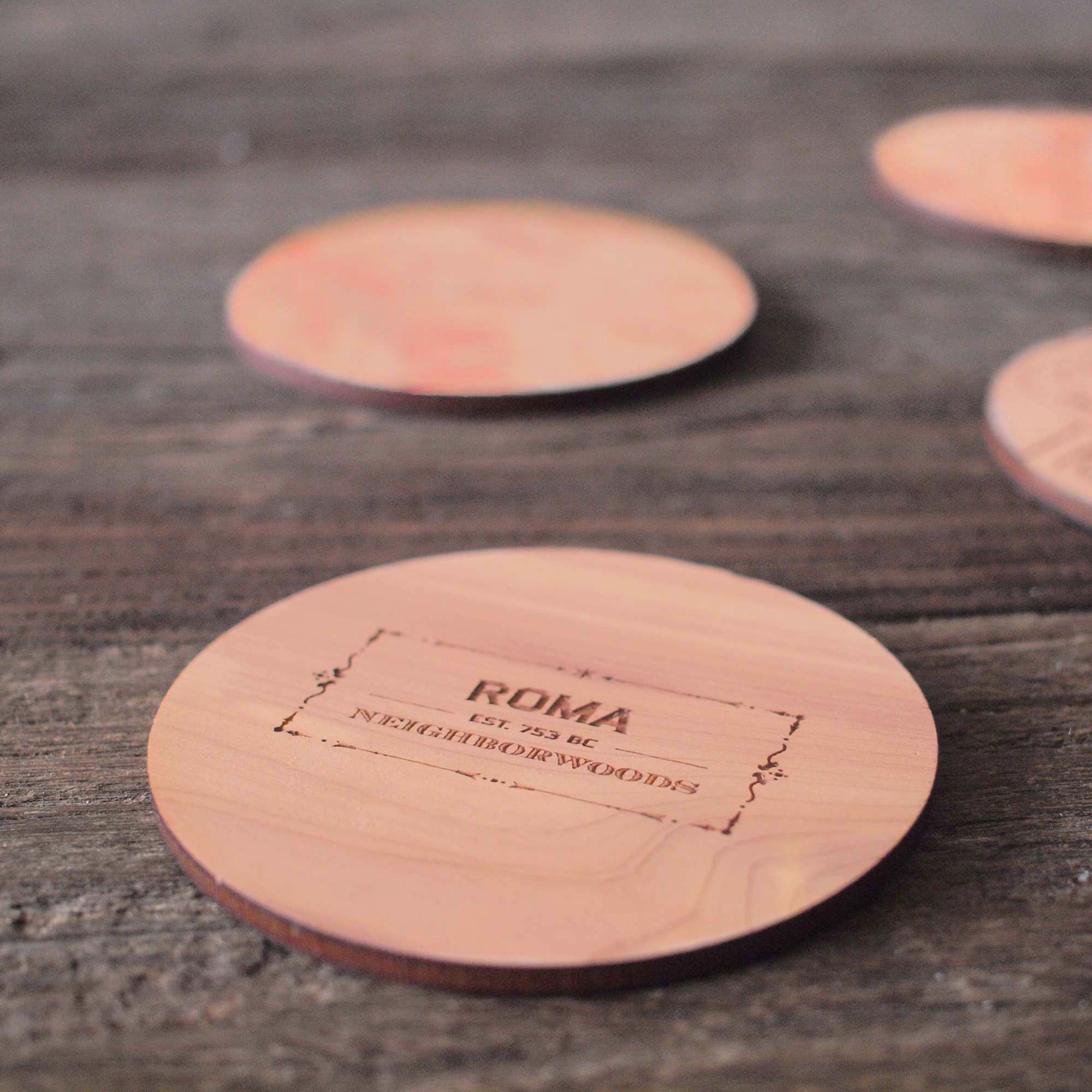 Neighborwoods | Engraved City Coasters made of Wood | Rome