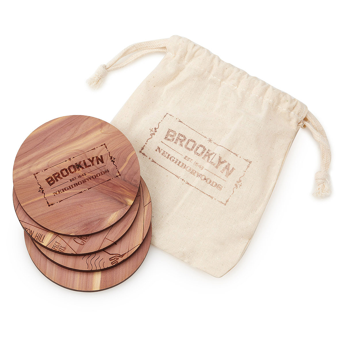 Neighborwoods | Engraved City Coasters made of Wood | Brooklyn