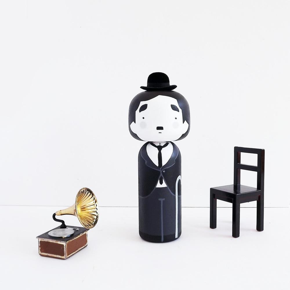 Charlie Chaplin Kokeshi Doll by Becky Kemp