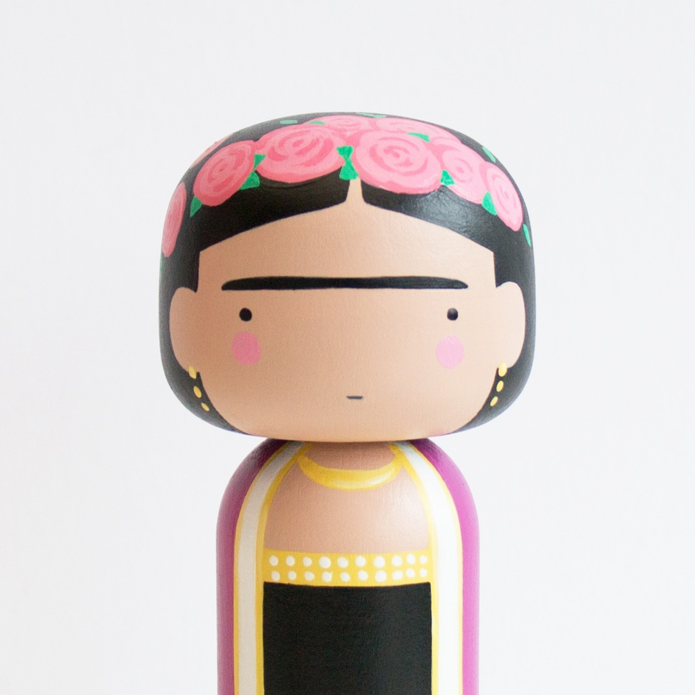 Frida Kahlo Kokeshi Doll by Becky Kemp