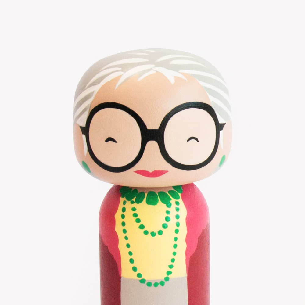 Iris Apfel Kokeshi Doll by Becky Kemp