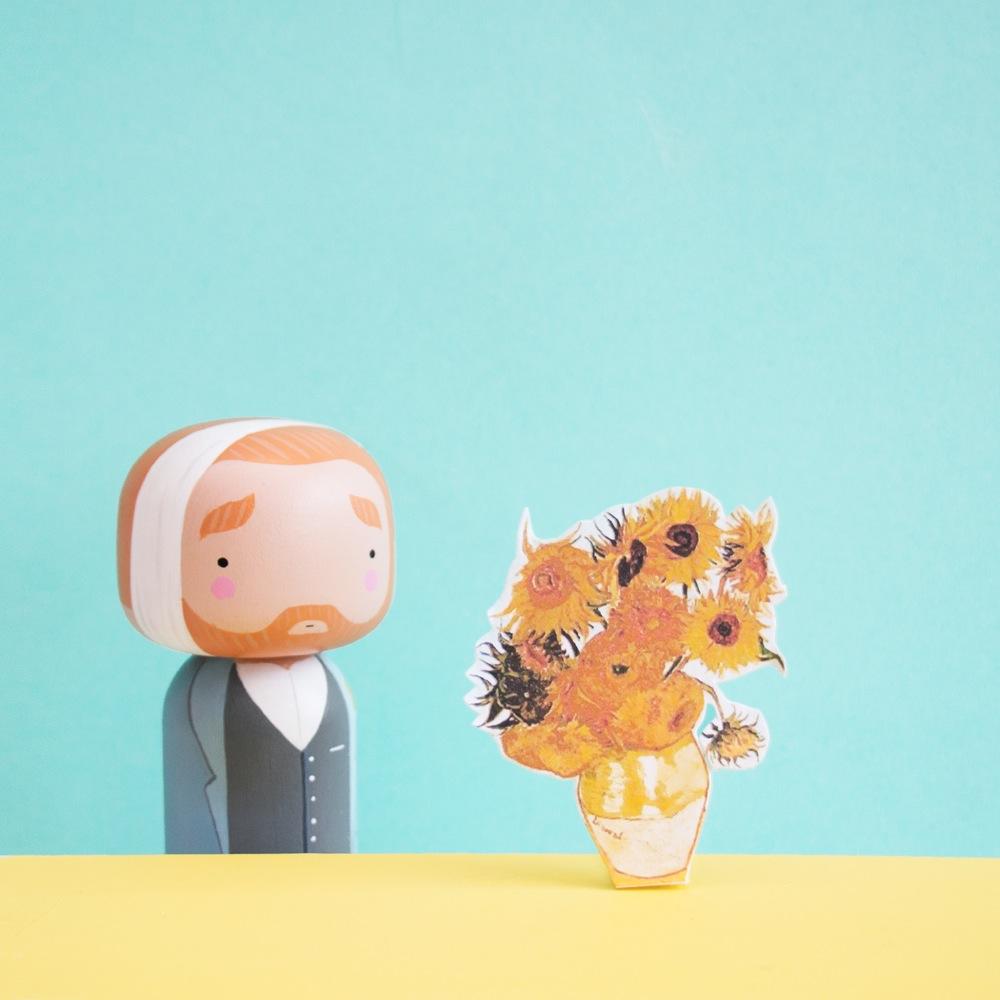 Vincent Van Gogh Kokeshi Doll by Becky Kemp