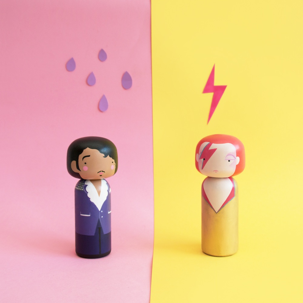 Prince & Ziggy Stardust Kokeshi Dolls by Becky Kemp