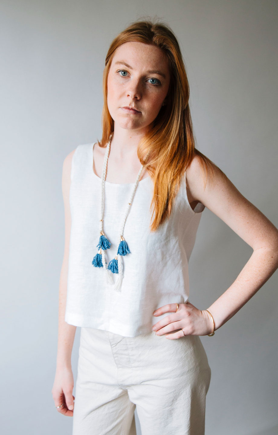 Ellen Mote Jewelry | Braided necklace with handdyed tassels
