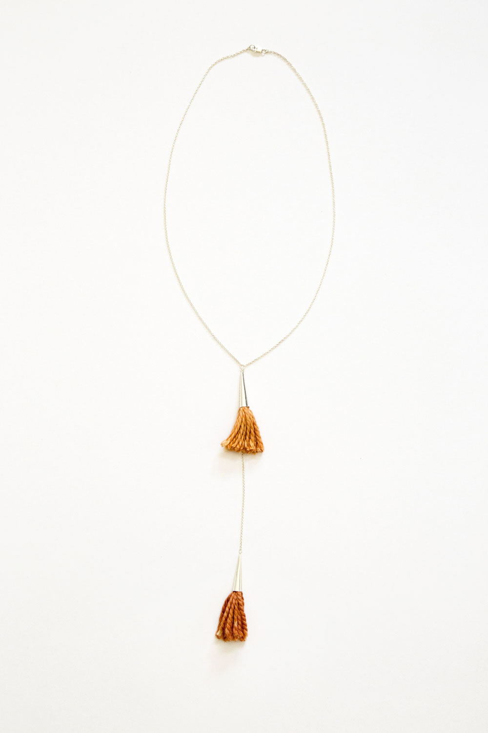 Ellen Mote Jewelry | Silver chain with handdyed tassels