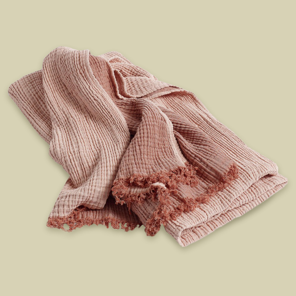 Crinkle – pink cotton throw for chilly summer evenings by HAY