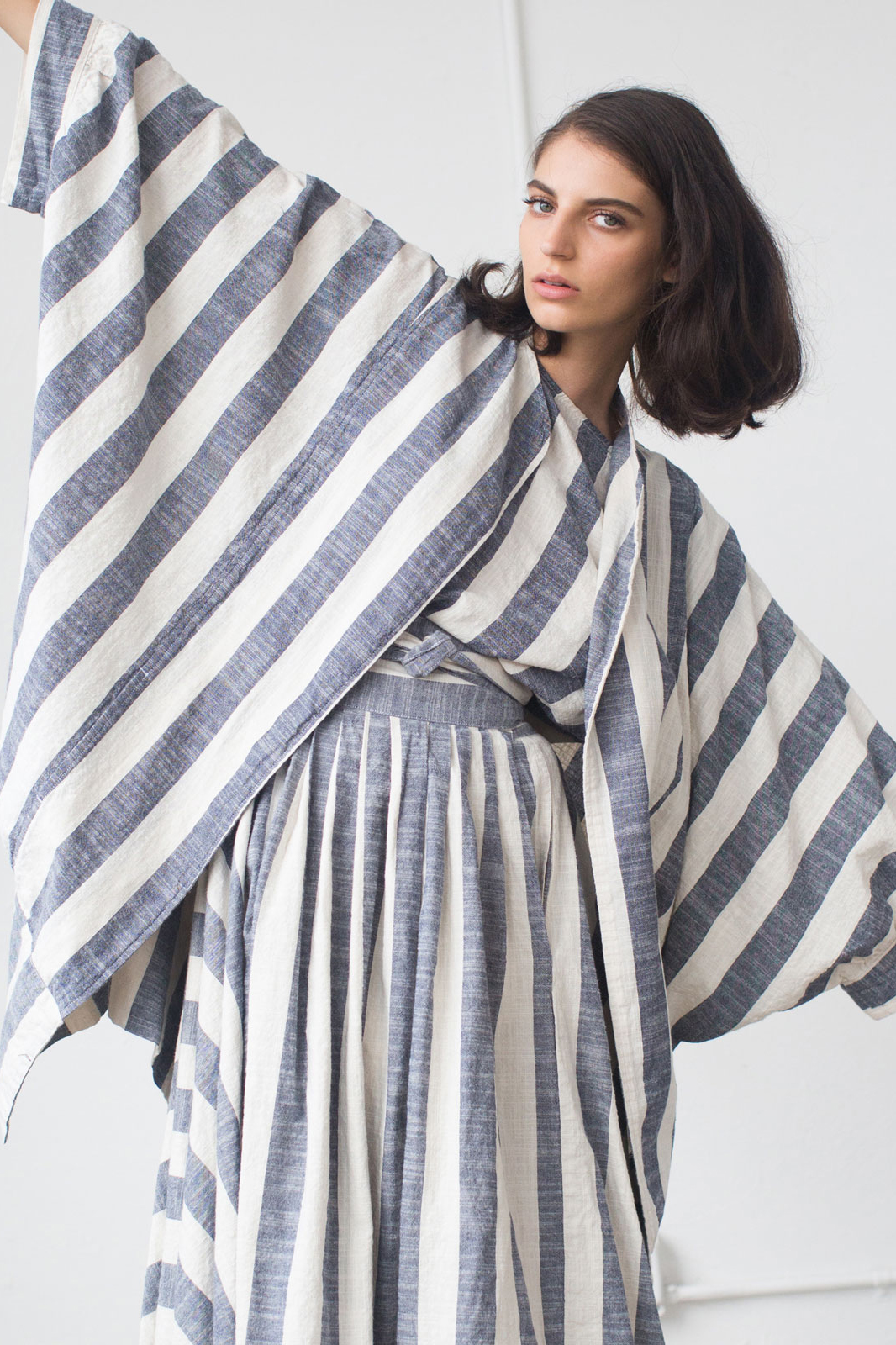 Black Crane – Striped Dress made in LA, inspired by Japanese culture