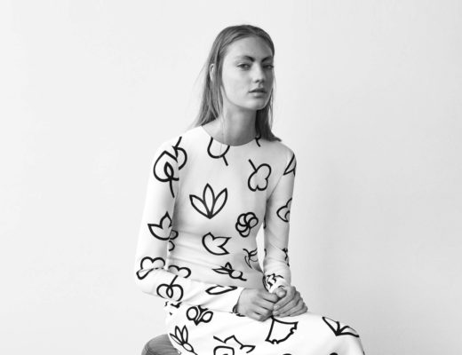 Narciso Rodriguez – White dress with graphical black flower print