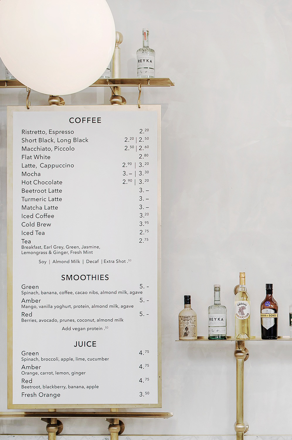 Royal Exchange Grind | Menu Card Espresso Bar