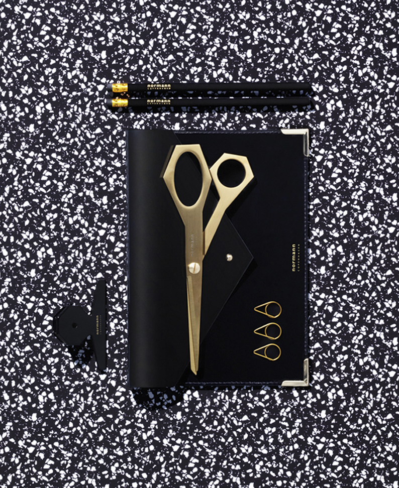 Daily Fiction Stationery by Normann Copenhagen | metallic gold scissors