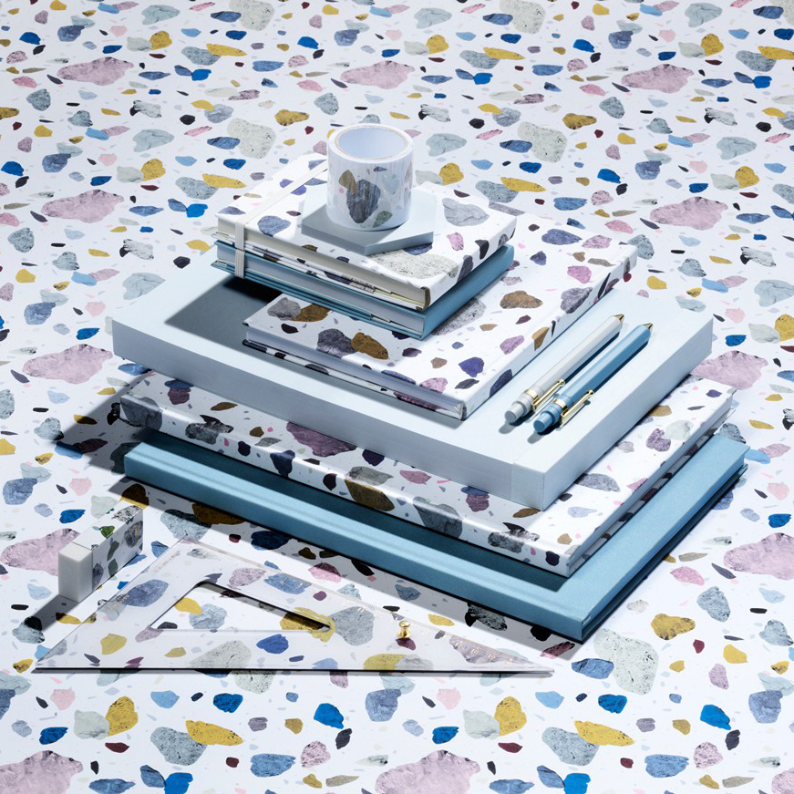 Daily Fiction Stationery by Normann Copenhagen | Notebooks with terrazzo stone pattern