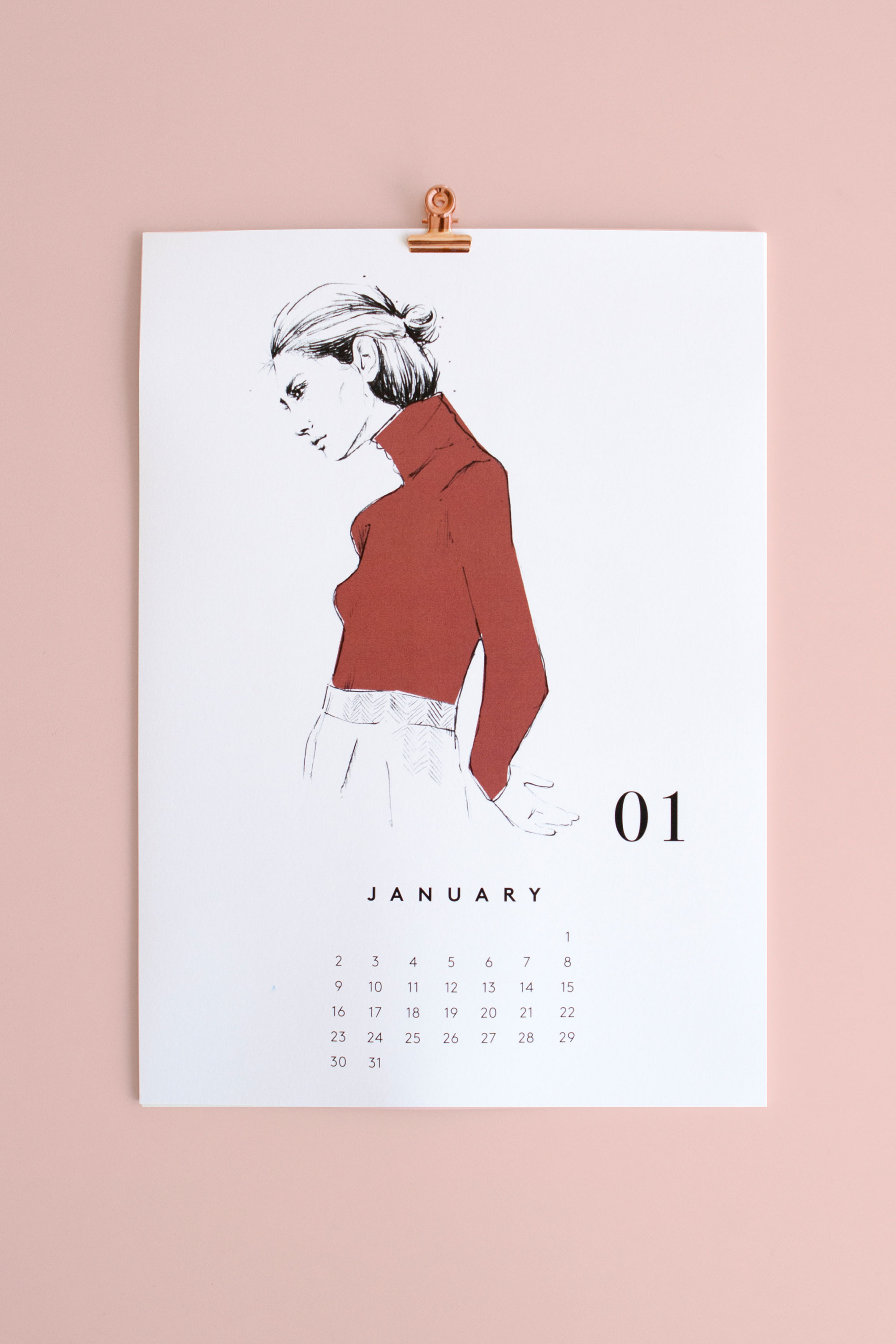 Marin et Marine calendar 2017 with fashion & portrait illustrations