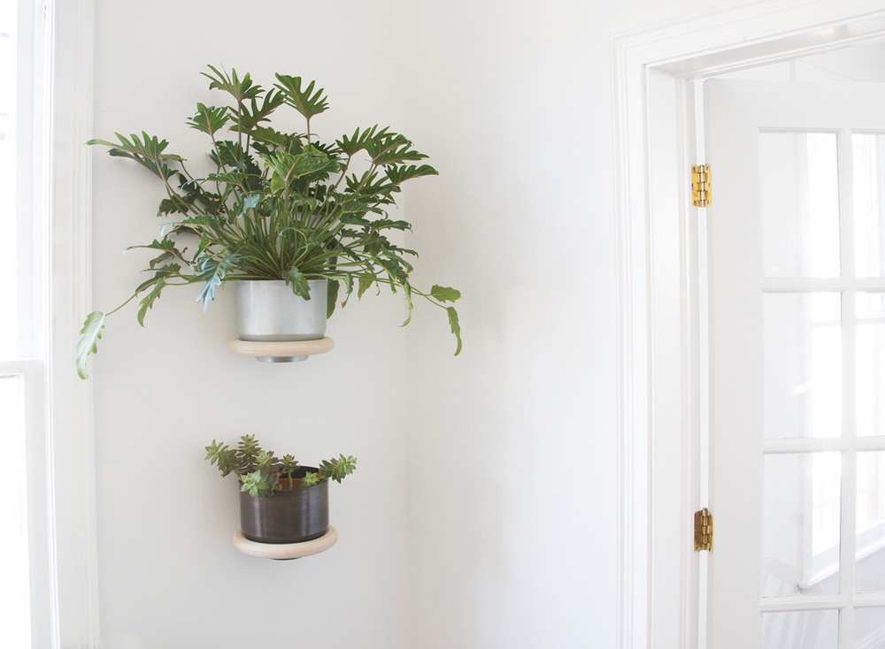 Wall mounted wood and aluminium planter
