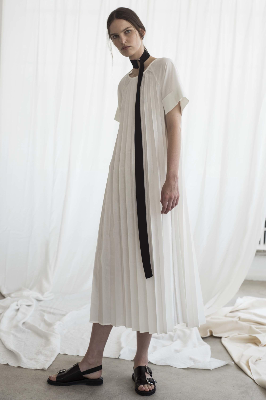 Shaina Mote | white pleated summer dress