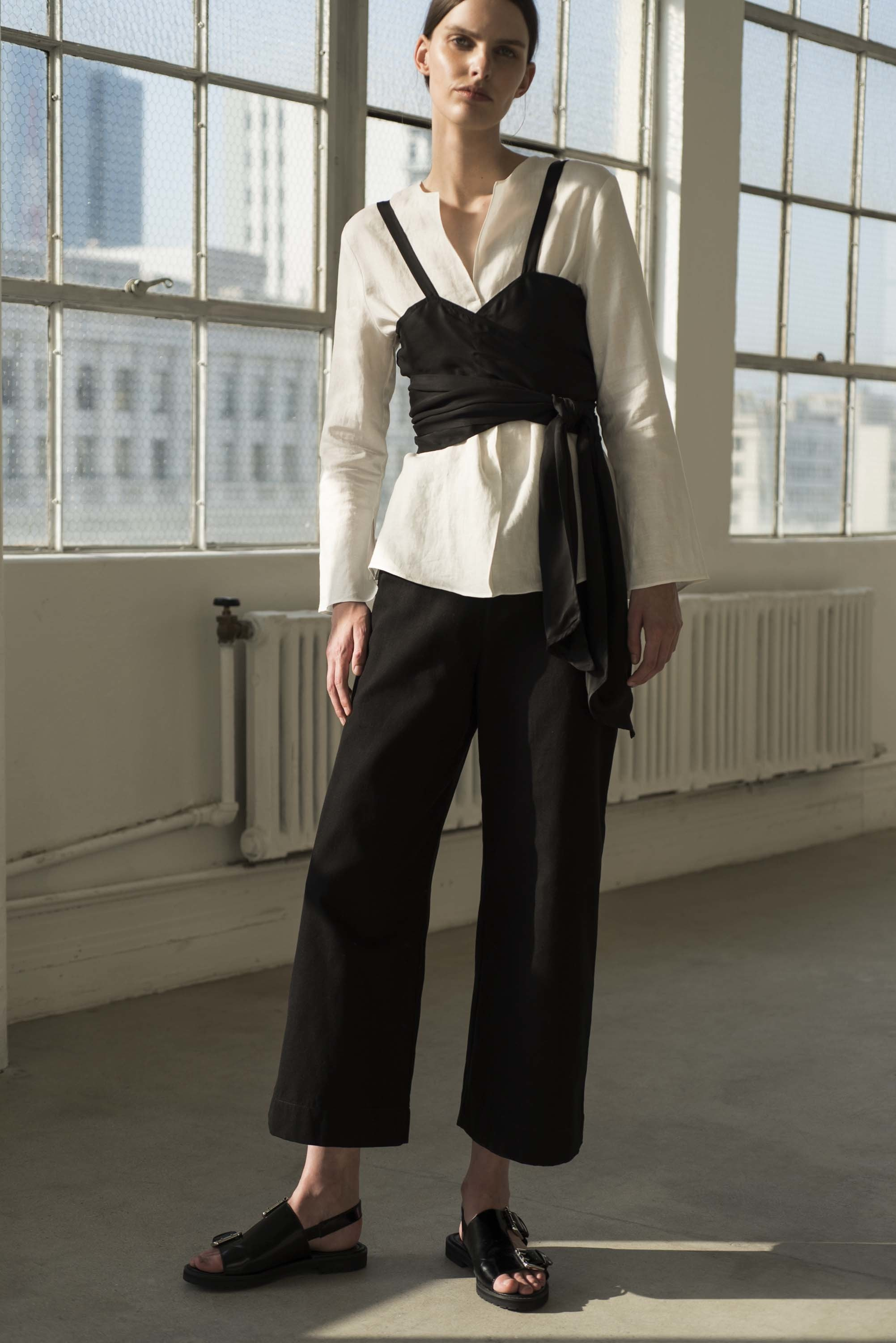 Shaina Mote | crop top over blouse