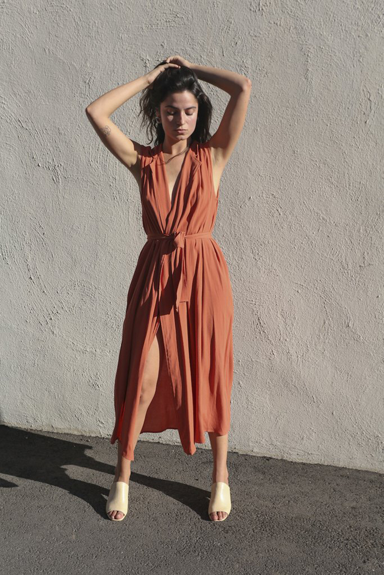 Mixed Business LA | Vest Dress in Rust