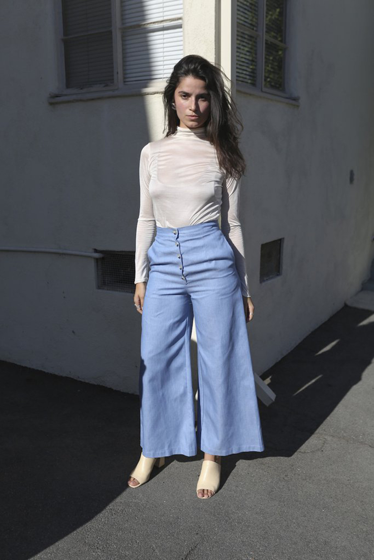 Mixed Business LA | cream turtleneck and wide high waist pants