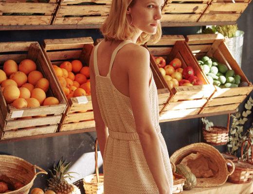 Nanushka | Rustic weave dress with tape strap. Fringe hem and adjustable waistbelt.