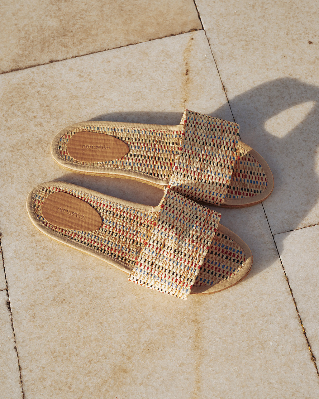 Nanushka | Flat slides in color straw with leather lining