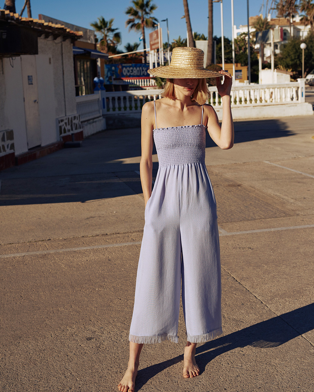 Smock top jumpsuit in tech linen