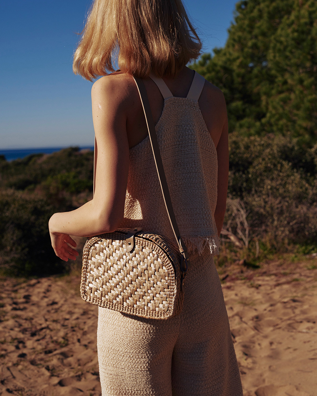 Wicker bag | straw shoulder bag with leather details